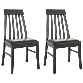 CorLiving DKR-609-C Tapered Back Chocolate Black Bonded Leather Dining Chairs (Set of 2)