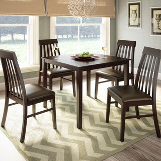 CorLiving 5-piece Dark Cocoa Dining Set with Tapered Back Chairs