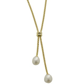 Pearls For You 14k Goldplated Silver White Freshwater Pearl Lariat Necklace (7.5-8 mm)