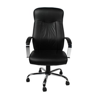 Merax Leather Office Chair, Black, H-9152L-1