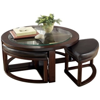 Signature Designs by Ashley Marion Dark Brown Cocktail Table and Stools (Set of 5)