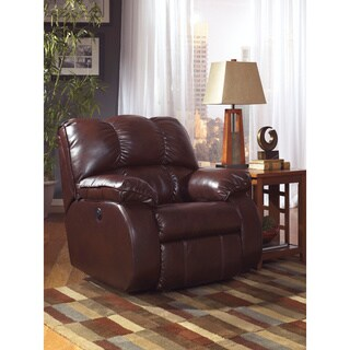 Signature Designs by Ashley Knockout Redwood Leather Rocker Recliner