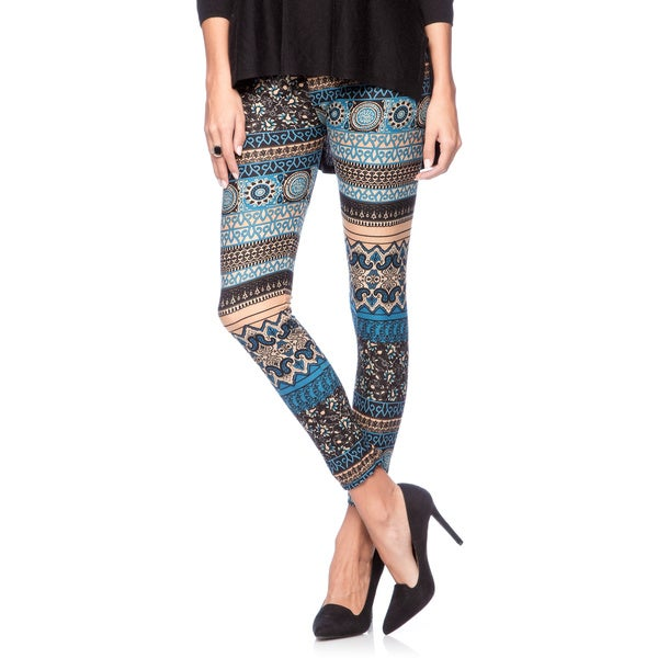 Ladies Full-length Blue/ Black/ Brown Seamless Stretch Printed Leggings