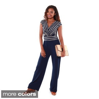 Hadari Women's Striped Bodice V-neck Jumpsuit