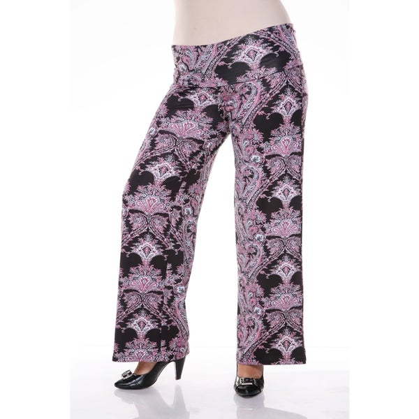 White Mark Plus Size Paisley Palazzo Pants