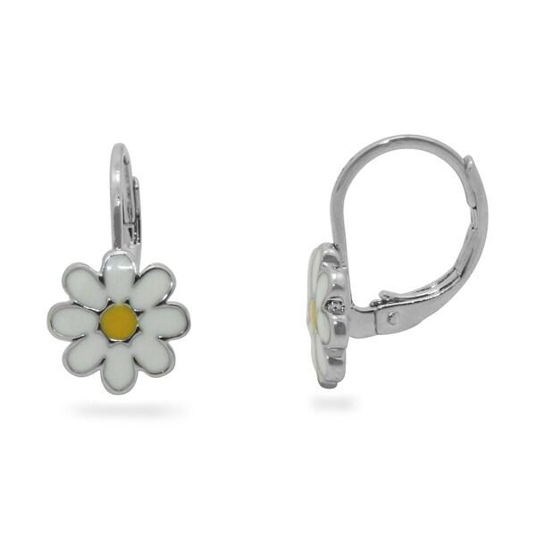 Junior Jewels Enamel Daisy Flower Leverback Earrings