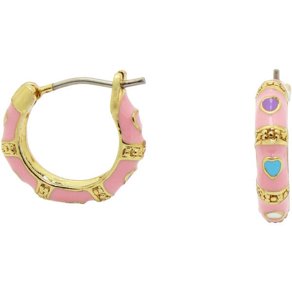 Junior Jewels Enamel Multi Heart Hoop Earrings