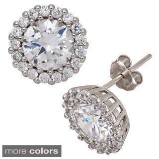 Gioelli Sterling Silver Dazzling Cubic Zirconia Stud Earrings