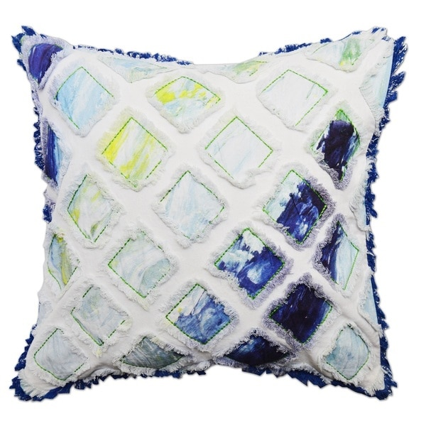 Hand-crafted Ocean Blue Patchwork 20-inch Down and Feather Filled Throw Pillow