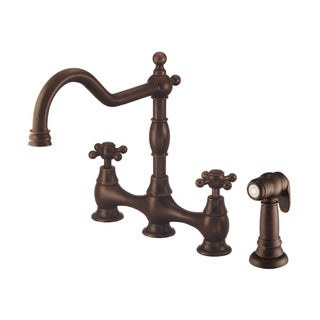 Danze 2-handle Bridge Kit Opulence Deck Mount Cross Handle with Spray Tumbled Bronze Faucet