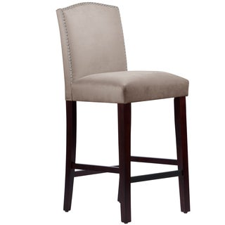 Made to Order Nail Button Arched Barstool in Velvet Light Grey