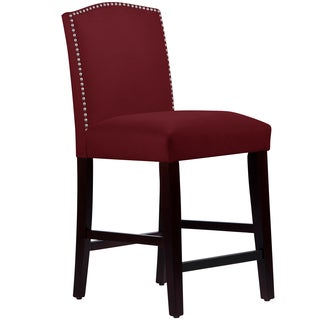 Made to Order Nail Button Arched Counter Stool in Velvet Rouge