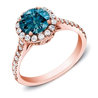 Auriya 14k Rose Gold 1 3/4ct TDW Blue Halo Diamond Ring (I1-I2)