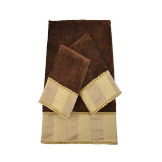 Austin Horn Classics Genevieve Stripe Brown Luxury Embellished 3-piece Towel Set