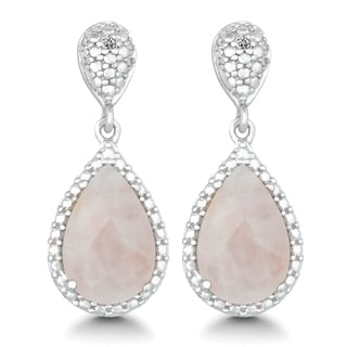La Preciosa Sterling Silver 1/5ct TDW Diamond and Rose Quartz Teardrop Earrings (I-J, I2-I3)