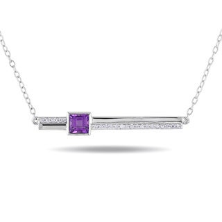 Miadora Sterling Silver Amethyst and 1/10ct TDW Diamond Necklace (H-I, I2-I3)