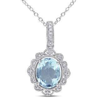 Miadora Silver Blue Topaz and 1/10ct TDW Diamond Necklace (H-I, I2-I3)
