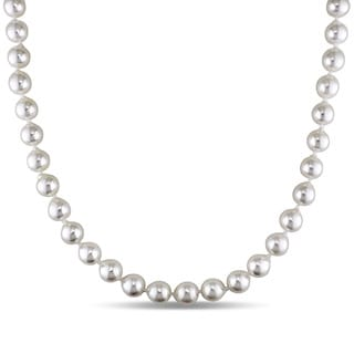 Miadora 14k Yellow Gold Cultured Akoya Pearl Necklace (8-8.5 mm)