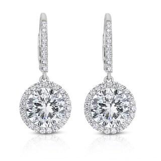 Collette Z Sterling Silver Cubic Zirconi Round Dangling Earrings