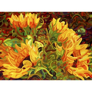 Mandy Budan 'Four Sunflowers' Gallery-stretched Canvas Art