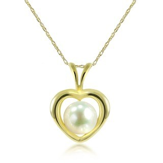 DaVonna 14k Yellow Gold White Freshwater Pearl Heart Pendant Necklace (5-6 mm)