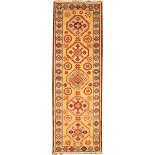 Herat Oriental Indo Hand-knotted Tribal Kazak Gold/ Grey Wool Rug (2'1 x 6'7)