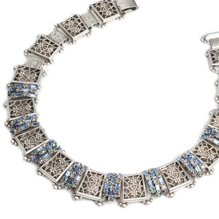 Sweet Romance Pewter Baguette-cut Crystal Deco Necklace