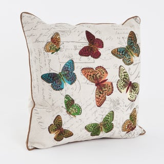 Printed and Embroidered Multicolor Butterfly 18-inch Throw Pillow