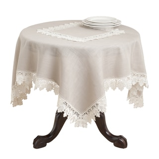 Lace Trimmed 72x72-inch Square Tablecloth