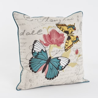 Butterfly Printed and Embroidered 18-inch Throw Pillow