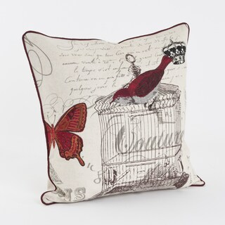 Red Bird and Butterfly Printed and Embroidered 18-inch Throw Pillow