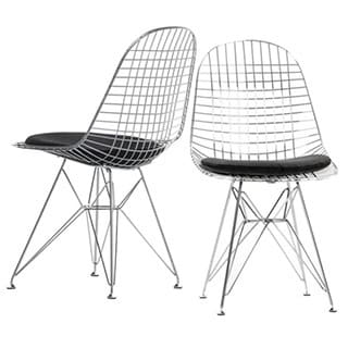 Midcentury Design Store Wire Chair with Black Cushion (Set of 2)