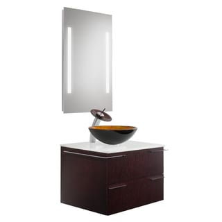 VIGO Vision 31-inch Bathroom Vanity with Russet Vessel Bowl and Waterfall Faucet Set