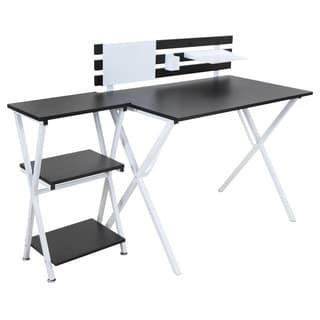 Organized Black/ White Desk and 3-tier Bookshelf Combo