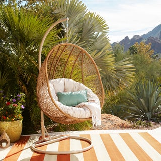 ABBYSON LIVING Hampton Swinging Egg Outdoor Wicker Chair