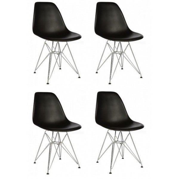 Retro Eames Style Black Accent Shell Chair with Steel Eiffel Legs (Set of 4)