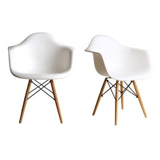 Retro Molded Eames Style White Accent Armchair with Wood Eiffel Legs (Set of 2)