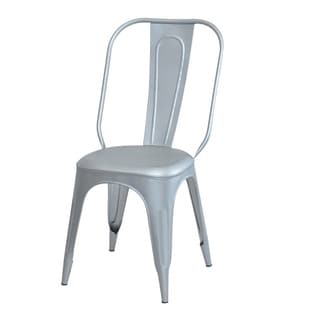 Industrial Tolix Silver-colored Dining Chair Set