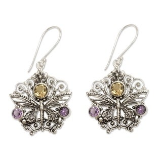 Handcrafted Amethyst Citrine 'Butterfly Queen' Earrings (Indonesia)