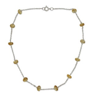Sterling Silver 'Golden Warmth' Citrine Necklace (India)