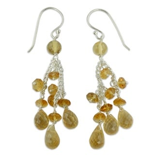 Sterling Silver 'Golden Cascade' Citrine Earrings (India)