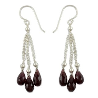 Sterling Silver 'Sparkling Wine' Garnet Earrings (India)
