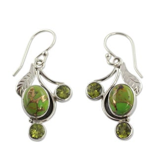Sterling Silver 'Dew Blossom' Multi-gemstone earrings (India)