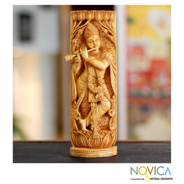 Handcrafted Kadam 'Hindu Romance' Wood Sculpture (India)