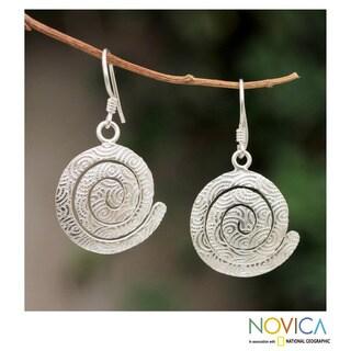 Handcrafted Sterling Silver 'Andean Energy' Dangle Earrings (Peru)