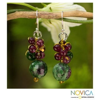 Sterling Silver Multi-gem 'Sweet Berries' Cluster Earrings (Thailand)
