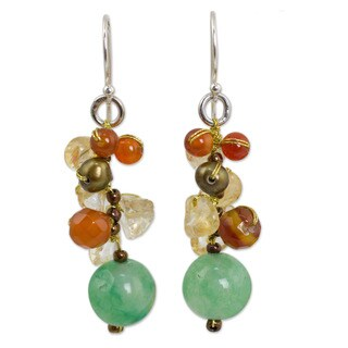 Pearl Carnelian 'Lemon Lime' Cluster Earrings (Thailand)
