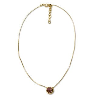 Gold Overlay 'Lilac Cosmos' Drusy Agate Pendant Necklace (Brazil)
