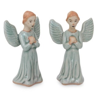 Set of 2 Celadon Ceramic 'Angel Prayer' Figurines (Thailand)