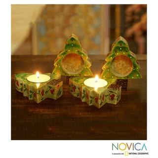 Set of 4 Soapstone 'Christmas Tree Quartet' Candleholders (India)